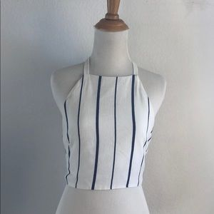 White and Navy Stripe Halter Top